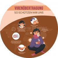 Rund | Vor Virenübertragung schützen Poster | Plakat online drucken | Rundformat