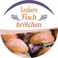 Rund | Leckere Fischbrötchen Poster | Werbeposter Fischbrötchen | Rundformat