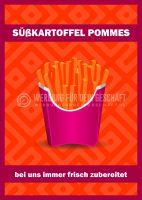 Süßkartoffel Pommes Plakat | Plakatwerbung für Imbiss