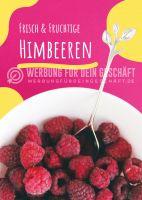 Frische & fruchtige Himbeeren Poster   Werbebanner für deinen Hofladen