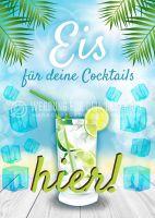 Eis für deine Cocktails Plakat | Werbebanner für Eis