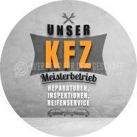 Rund | Unser KFZ Meisterbetrieb Poster | Werbetafel für Autowerkstatt | Rundformat