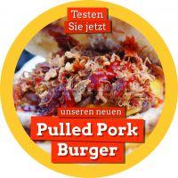 Rund | Pulled Pork Burger Werbebanner | Plakat auch in DIN A 0 | Rundformat