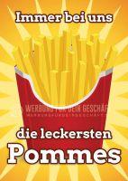 Die leckersten Pommes Plakat | Werbeschild für Imbiss