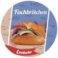 Rund | Leckere Fischbrötchen Plakat | Werbeplakat Fischbrötchen | Rundformat