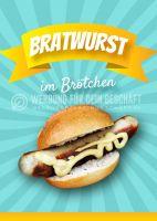 Bratwurst Plakat | Werbetafel Bratwurst im Brötchen