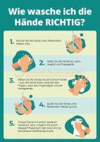 Hände richtig waschen Hinweisschild | Plakat auch in DIN A1