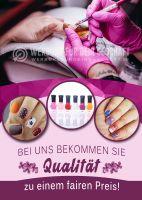 Qualität zum fairen Preis Poster | Werbetafel für Nagelstudios