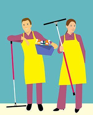 Das Reinigungsteam ist der Wunsch vieler Hausfrauen