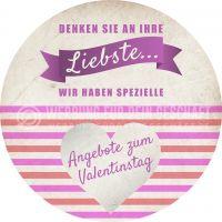 Rund | Angebot zum Valentinstag Plakat | Werbetafel für Valentinstag | Rundformat