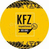 Rund | KFZ Inspektionen Plakat | Werbeschild für Autohaus | Rundformat