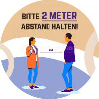 Rund | Bitte 2 Meter Abstand halten Hinweis | Poster | Rundformat