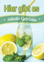 Eiskalte Getränke Werbetafel | Poster kaufen