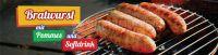 4:1 | Bratwurst mit Pommes Werbeplakat | Poster auch in DIN A 0 | 4 zu 1 Format