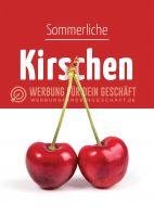 Sommerliche Kirschen Werbeaufkleber | Plakat auch in DIN A 4