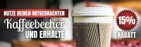 3:1 | Nutze deinen mitgebrachten Kaffeebecher Plakat | Für Werbeaufsteller | 3 zu 1 Format