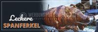 3:1 | Leckere Spanferkel Werbeschild | Plakat online drucken | 3 zu 1 Format