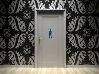Toiletten Aufkleber | Maennlich Symbol | Vektorgraphik blau