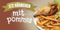 2:1 | Hähnchen mit Pommes Plakat | Werbeplakat für deinen Imbiss | 2 zu 1 Format