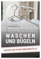 Lass deine Kleidung waschen und bügeln Poster | Werbung für Reinigung