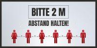 2:1 | Bitte 2 m Abstand halten Poster | für Werbeaufsteller | 2 zu 1 Format