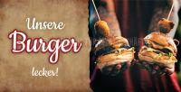 2:1 | Unsere Burger - lecker Werbebanner | Plakat auch in DIN A 0 | 2 zu 1 Format