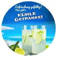 Rund | Kühle Getränke Plakat | Werbeschild Erfrischung | Rundformat