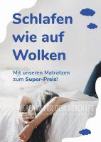 Schlafen wie auf Wolken Plakat   Werbeplakat für Bettengeschäfte