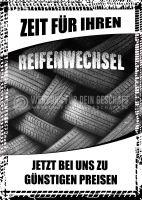 Zeit für Ihren Reifenwechsel Poster | Werbeschild für Autoservice