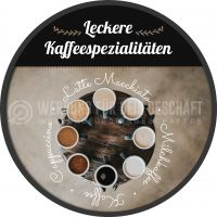 Rund | Kaffee Sorten Plakat | Werbetafel Kaffee | Rundformat