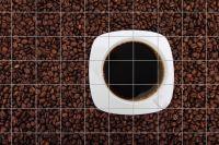 Kaffee mit Kaffeebohnen Fliesenbild