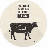 Rund   Das richtige Fleisch Poster   Werbebanner für Fleischerei   Rundformat