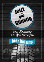 Von Sommer zu Winterreifen Plakat | Werbeplakat für Autohaus
