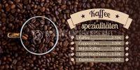 2:1   Kaffee Spezialitäten Poster   Werbebanner für dein Cafe   2 zu 1 Format