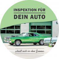 Rund | Inspektion für dein Auto Plakat | Poster auch in DIN A 1 | Rundformat