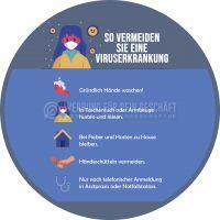 Rund | Viruserkankung vermeiden Hinweisschild | Plakat auch in DIN A0 | Rundformat