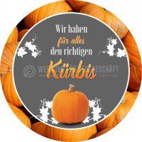 Rund | Der richtige Kürbis Poster | Werbetafel zu Halloween | Rundformat