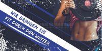 2:1 | Fit durch den Winter Plakat | Werbebanner für Fitnessstudios | 2 zu 1 Format