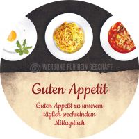 Rund | Guten Appetit Poster | Werbeposter für Mittagstisch | Rundformat