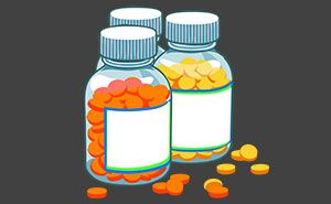 Medikamente in Gläsern