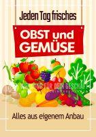 Frisches Obst und Gemüse Plakat | Werbetafel für Obst und Gemüsehandel