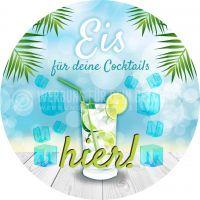 Rund | Eis für deine Cocktails Plakat | Werbebanner für Eis | Rundformat