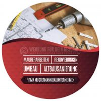 Rund   Bauunternehmen Werbebanner   Poster   Rundformat
