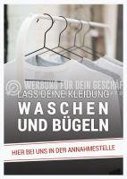 Lass deine Kleidung waschen und bügeln Poster   Werbung für Reinigung