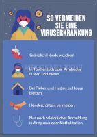 Viruserkankung vermeiden Hinweisschild | Plakat auch in DIN A0