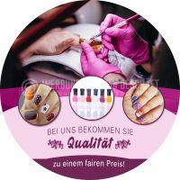 Rund | Qualität zum fairen Preis Poster | Werbetafel für Nagelstudios | Rundformat