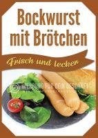 Bockwurst mit Brötchen Plakat | Werbetafel Bockwurst