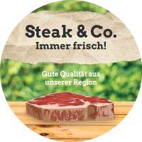 Rund | Steak und Co. Immer frisch Poster | Werbetafel für Fleischerei | Rundformat
