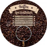 Rund | Kaffee Spezialitäten Poster | Werbebanner für dein Cafe | Rundformat